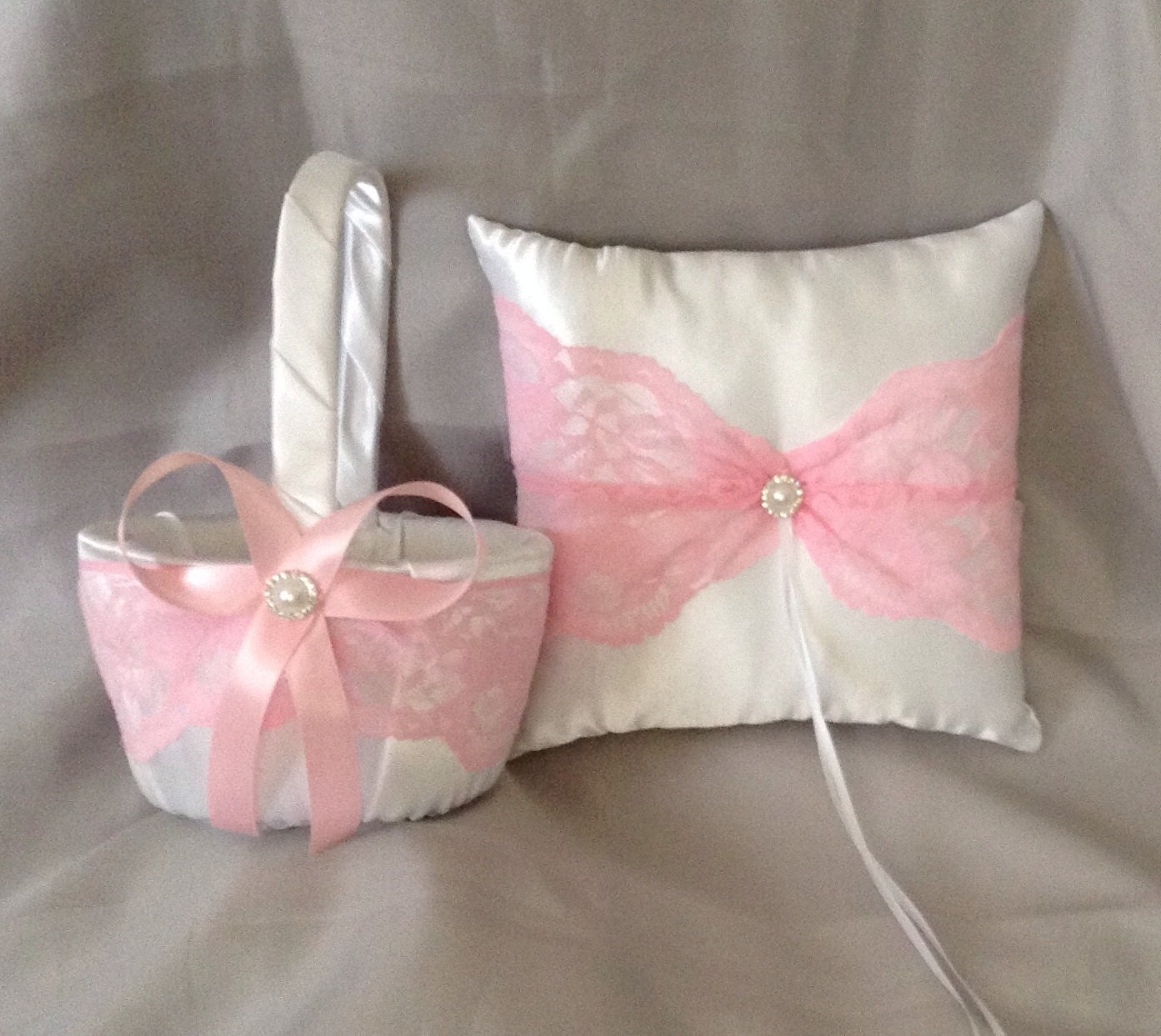 Pink Lace Flower Girl Basket And Ring Bearer Pillow White Or Etsy
