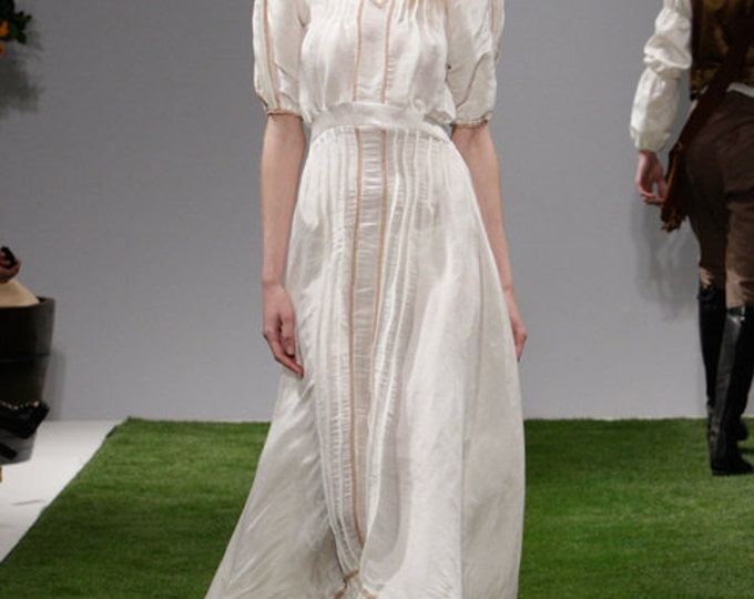 Hemp Silk Gown Off White French Vintage Lace Silk Dress with Train Prophetik