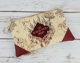 Harry Potter Inspired Zippered Pouch - Marauder's Map Pouch - Zippered Pouch with Accents - Weasley Twins Inspired Pouch - Map Zipper Pouch