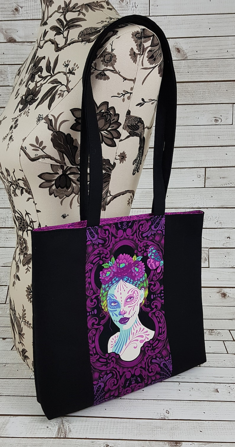 Book Tote Bag Made with Tula Pink De La Lune Fabric Librarian Gift Ideas Best Friend Gift