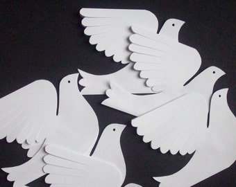 Paper Birds--Six Small White Paper Doves