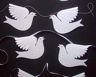 Paper Birds--Six White Singing Doves for Garland or Standing