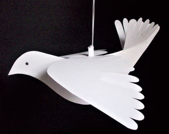 Paper Birds--Two Large White Fancy-Tail Paper Doves
