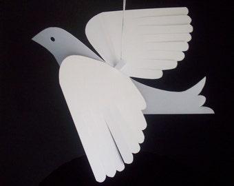 Paper Birds--Six Medium White Paper Doves