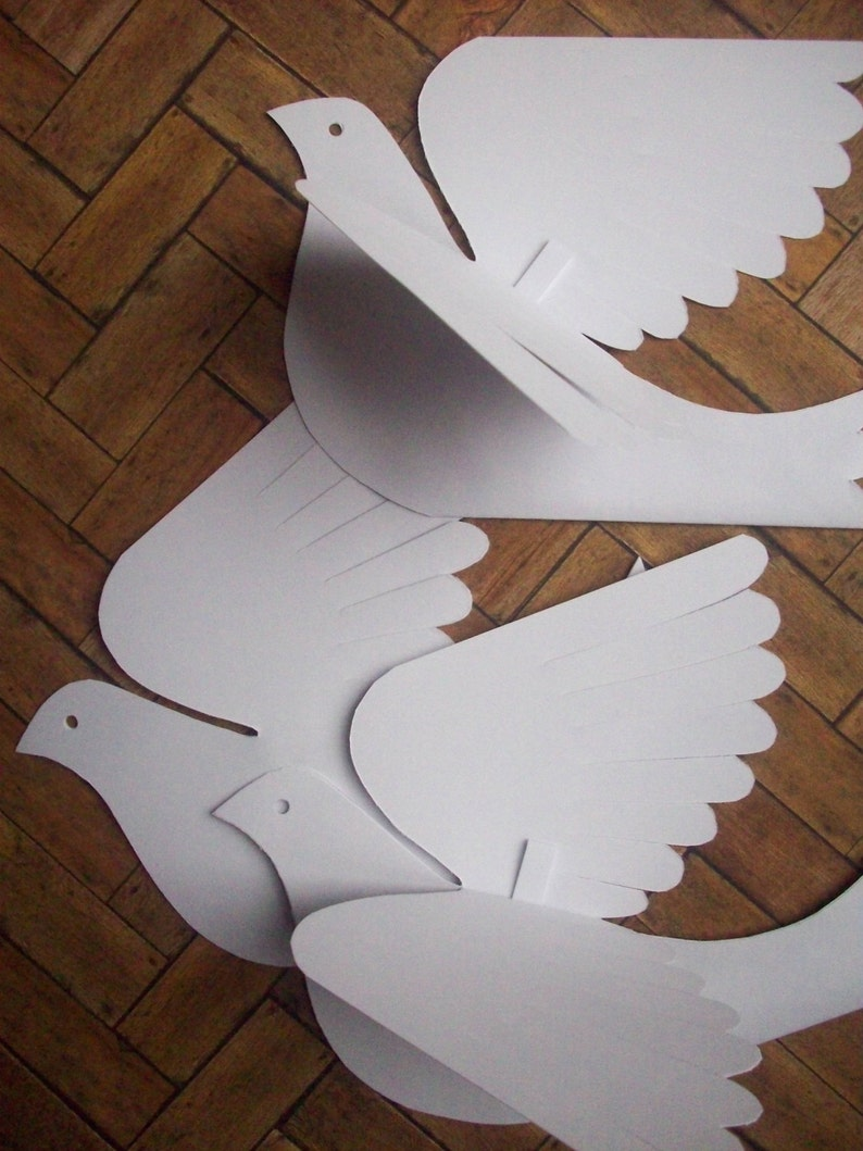 Paper Birds--Five Small White Paper Doves
