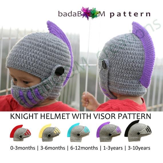Pdf Crochet Pattern Children Knight Hat Roleplay Crocheted Etsy