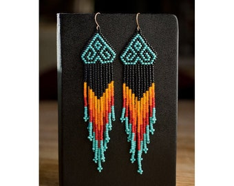 Native American Style Chevron Beaded Earrings