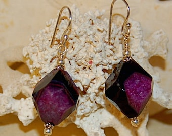 Purple Agate and Sterling Silver Earrings