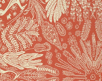 Oh Deer in Coral Bright Heart Fabric by Amy Butler - 1 Yard