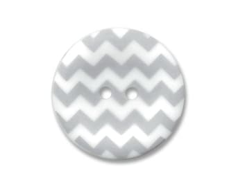 Riley Blake Carded Chevron Button Set of 4 in Gray