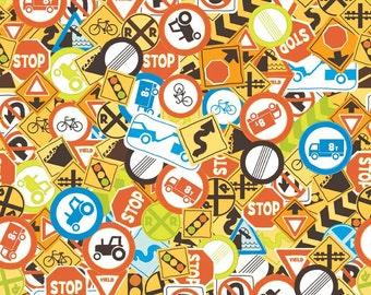 Riley Blake Fabric - Half Yard of On The Go Signs in Multi