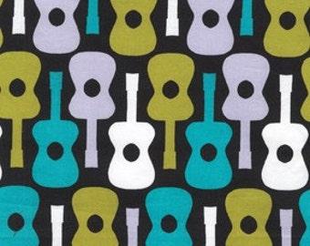 Michael Miller Fabric - 1 Yard Groovy Guitar in Lagoon
