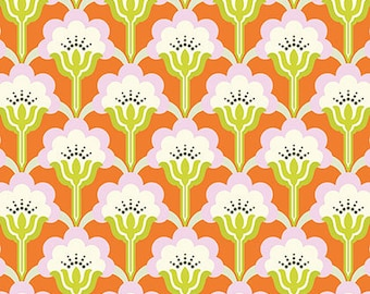 Nicey Jane Slim Pop Blossom in Persimmon by Heather Bailey - 1 Yard