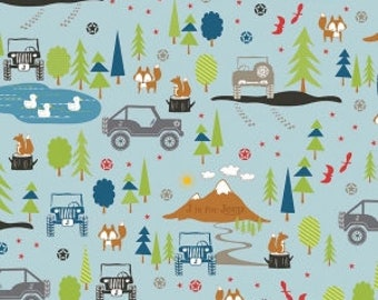 Jeep fabric J is for Jeep Main in Blue by Riley Blake Fabrics 1 Yard