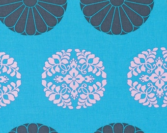 Amy Butler Fabric Cameo Pressed Flowers in Sky - Half Yard