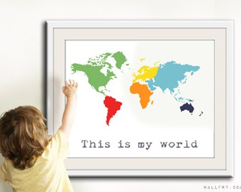 Kids wall art world map print childrens wall art kid etsy world map children decor kids wall art for children baby nursery decor kids playroom art children prints map nursery print by wallfry gumiabroncs Image collections
