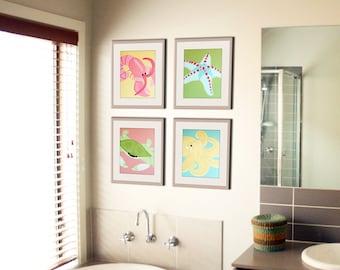 Bathroom art, bathroom prints. Kids bathroom children art. Baby nursery art. Underwater, sea creatures, beach.SET of ANY 4 prints by WallFry