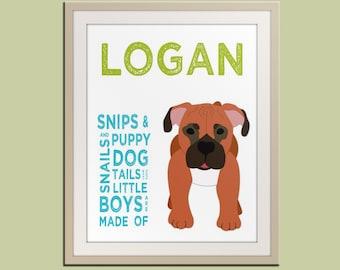 Personalized children art print. Baby boy nursery art. Baby nursery wall art. Kids wall art. Boy name art. Dog print by WallFry