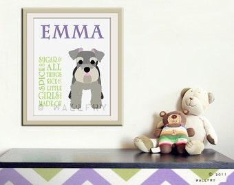Sugar and spice personalized print for girls. Personalized name print. Newborn gift nursery art. Personalized art print by WallFry