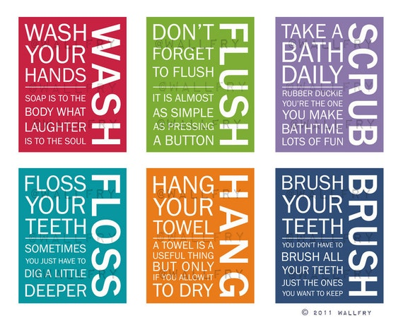 Set Of Any 5 Bathroom Art Prints Bathroom Rules Kids Etsy
