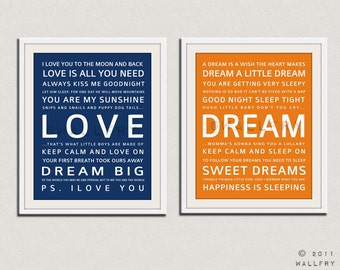 Nursery art print. Baby nursery decor. Art for children typography art for kids. Nursery wall quotes. SET OF ANY 2 prints. Cliche print
