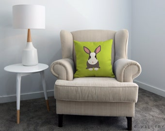 Throw pillow cushion. Rabbit woodland decor design. Nursery decor, children's play area.Professionally printed soft fabric with zipper