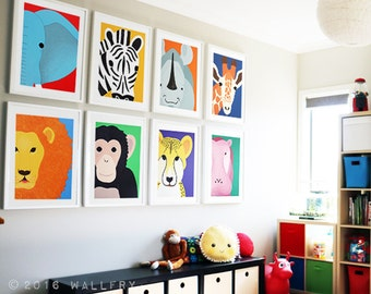 Playroom decor, playroom art, playroom prints. Jungle playroom decor. SET OF 8 prints of safari african wild zoo animals