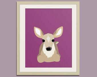 Deer woodland nursery decor print. Forest animal nursery art print. Animal art for kids decor. Art print by Wallfry