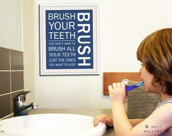 Bathroom art. Kids Bathroom rules. Bathroom prints bathroom art. Typography.  Bathroom rules print by WallFry