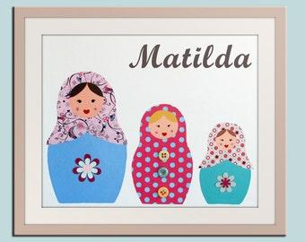 Personalized Children art Nursery art print. Matryoshka Dolls. 11x14 Babushka, Russian Dolls on white.kids wall art rooms & playroom