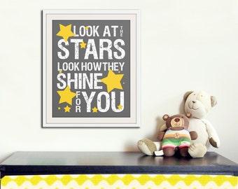 Nursery decor, baby nursery art. Nursery wall quote, inspirational typography print. grey yellow look at the stars. Print by Wallfry