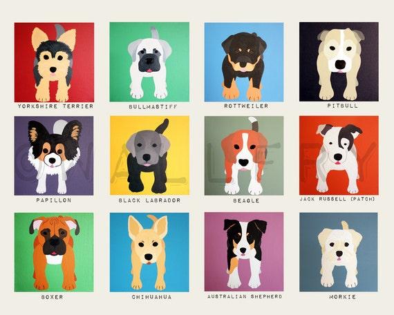 Dog wall prints. Puppy dog themed nursery wall art. Dog print   Etsy