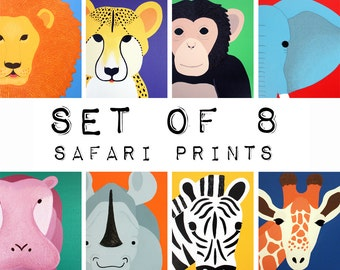 Nursery Art Jungle animal Prints for baby / Child . SET OF 8 prints of safari african wild zoo animals for kids rooms and playrooms