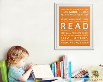 READ inspiration typography print for kids. Children art print for playroom decor or library. Toddler nursery art print by Wallfry