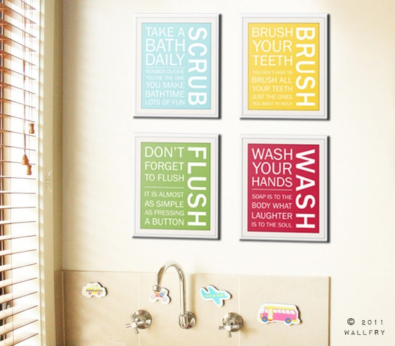 Bathroom Art Prints Bathroom Rules Kids Bathroom Wall Etsy