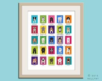 Dog art for children. Kids wall art puppy dog print. Multiple breeds nursery art print Dog lovers nursery decor. DOS SERIES print by WallFry