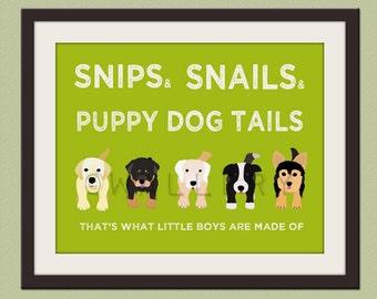 Nursery art print. Boys nursery wall art Puppy dog Thats what little boys are made of Kids wall art baby nursery decor print by WallFry