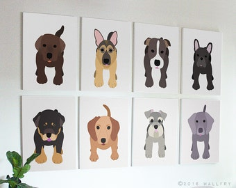 Puppy dog nursery decor. Dog canvas wrap art prints. SET OF ANY 3 dog prints on gallery wrapped canvas by Wallfry for playroom decor.