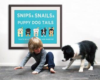 Nursery art print. Boy nursery artwork Puppy dog Thats what little boys are made of Kids wall art baby nursery decor DOG PRINT by WallFry