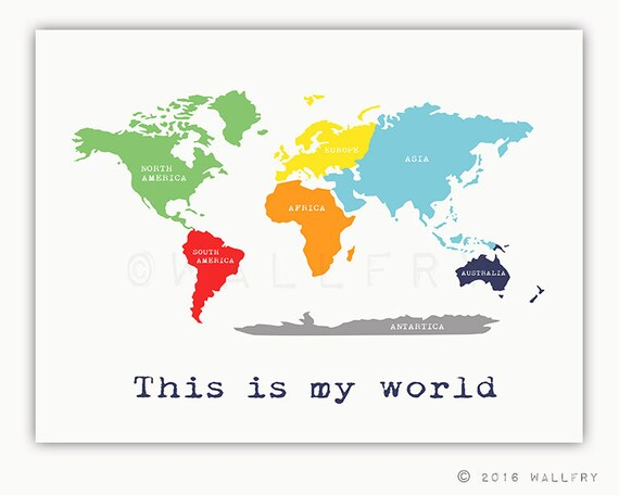 Kids Wall Art World Map Print With Continents Childrens Wall Art Kid Playroom Art Labeled Map Art For Children Map Print By Wallfry