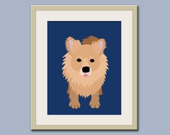 Pomeranian print dog art. Dog nursery decor. Art for children, kids decor. Custom dog art for kids. Art print by WallFry
