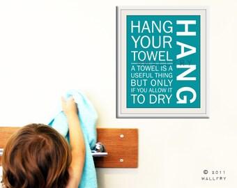 Bathroom art. Kids Bathroom rules. Bathroom prints bathroom art. Typography.  8x10 print by WallFry
