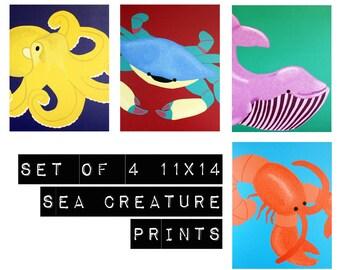 Bathroom prints, nursery art sea creature prints. Set of 4 11x14 underwater themed nursery artwork beach ocean sea life