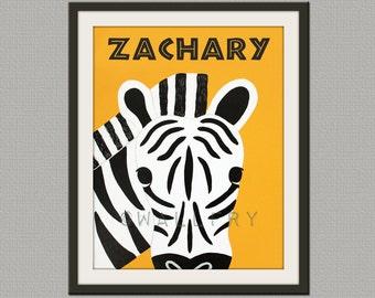 Personalized children art Zebra Print baby nursery art. Safari artwork, jungle art, for kids rooms in blue and orange by WallFry