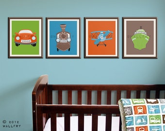 Transportation prints. Boys wall art for nursery and playroom. Kids decor, child decor. Plane, train, car SET OF 4 prints by WallFry