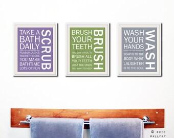 Bathroom decor. Kids Bathroom rules. Bathroom prints bathroom art. Typography. SET OF 3 prints by WallFry