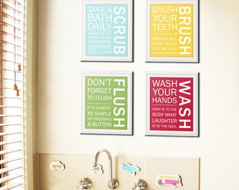 Reserved custom listing - SET OF 4 canvas wrap bathroom prints.
