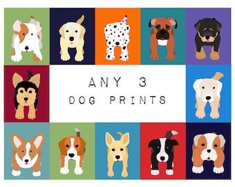 Dog prints Dog Art. Puppy nursery art prints SET OF ANY 3 prints. Baby nursery decor kids art. Kids wall art. Kids decor by WallFry