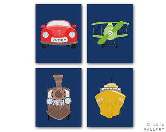 Transportation prints. Boys wall art for nursery and playroom. Kids decor, child decor. Plane, train, car SET OF ANY 4 prints by WallFry