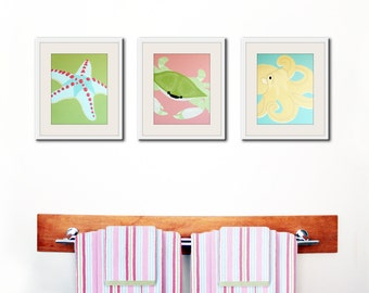Bathroom art, bathroom prints. Kids bathroom children art.  Underwater, sea creatures, beach. SET OF 3 prints pink and green
